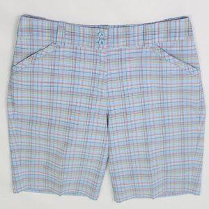 Nike Golf FIT DRY light blue plaid bermuda shorts